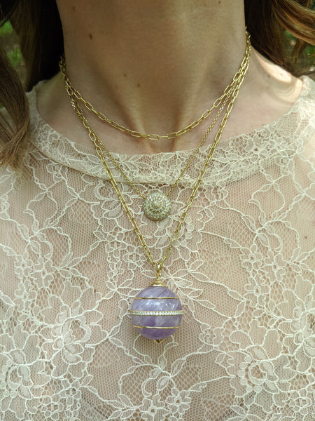 Found Sphere Pendant Necklace - Amethyst