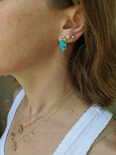 Load image into Gallery viewer, Found Hexagon Stud Earrings - Turquoise, Pink Sapphire & Diamond