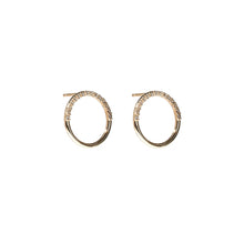Load image into Gallery viewer, The Crew Half Moon Stud Earrings - Diamond