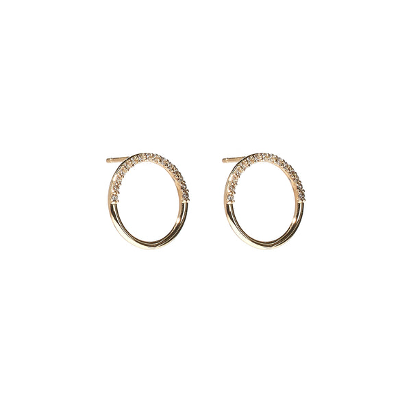 The Crew Half Moon Stud Earrings - Diamond