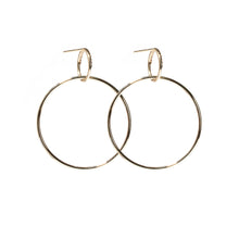 Load image into Gallery viewer, The Crew Half Moon Double Hoop Earrings - Diamond