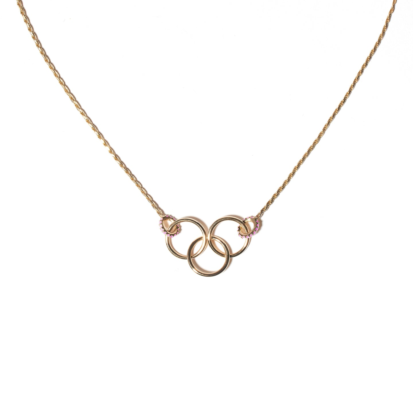 The Crew Triple Circle Necklace - Pink Sapphire