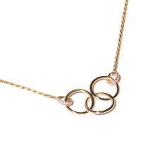 Load image into Gallery viewer, The Crew Triple Circle Necklace - Pink Sapphire