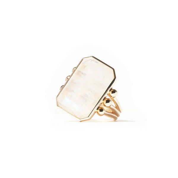 Found Emerald Cut Ring - Moonstone