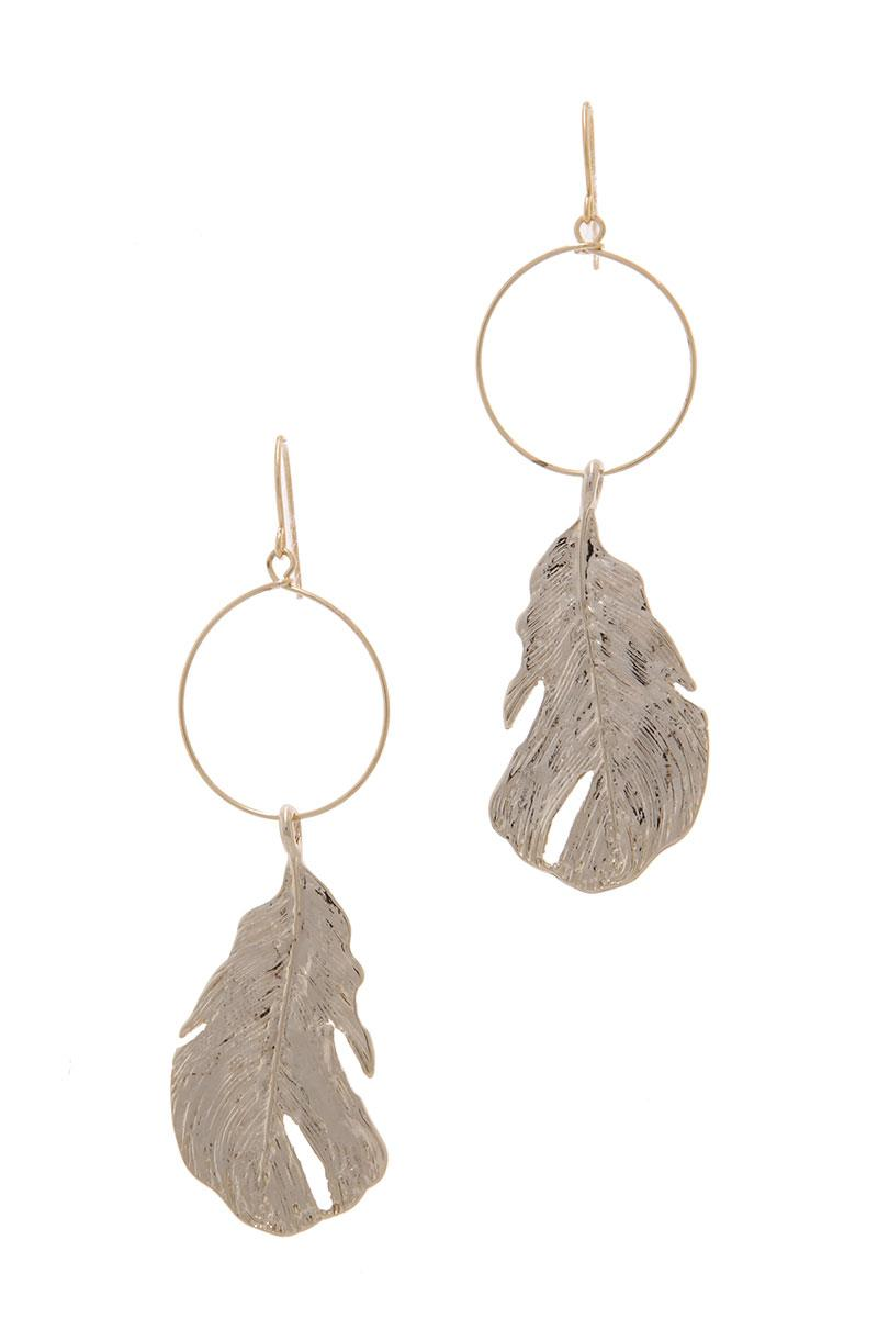 Textured Metal Leaf Circle Drop Earring