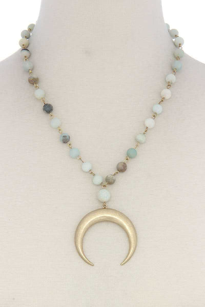 Crescent Moon Beaded Short Necklace