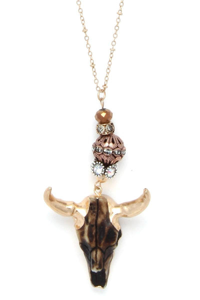 Cattle Skull Beaded Pendant Necklace