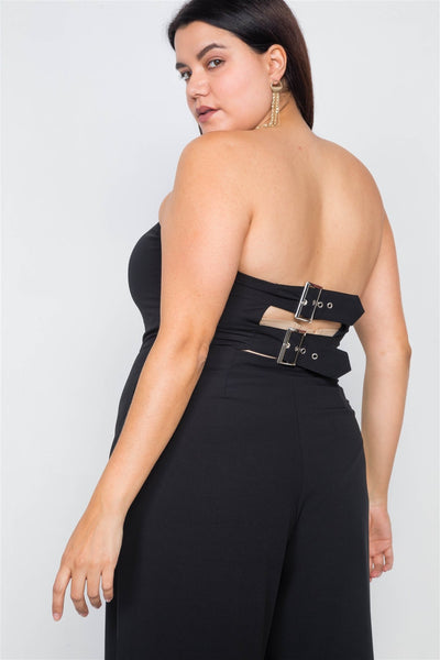 Plus Size Buckle Cut-out Sleeveless Wide Leg Jumpsuit