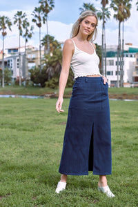 Navy Blue Denim Midi Center Slit High Waist Casual Skirt