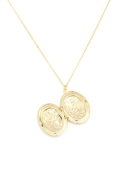 Leaf Oval Shape Locket Metal Necklace
