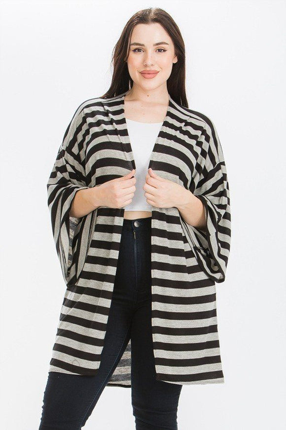 Striped, Cardigan With Kimono Style Sleeves