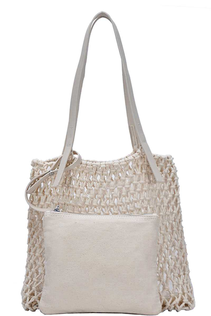 2in1 Modern Chic String Woven Tote Bag