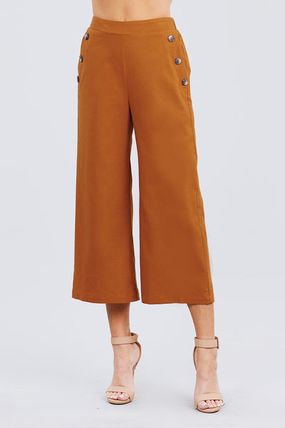 Fake Pocket W/button Detail Wide Long Leg Linen Pants