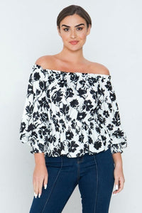 Long Sleeves Off Shoulder Neckline Printed Shirt
