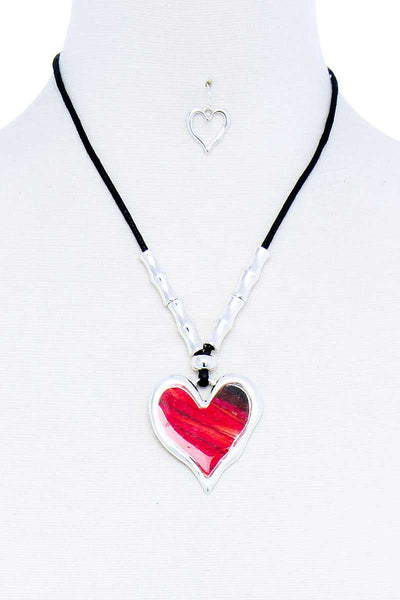 Fashion Stylish Heart Pendant Necklace And Earring Set