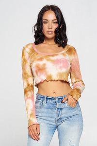 Long Sleeve Tie Dye Crop Top