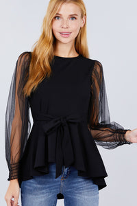 Mesh Puff Sleeve Peplum Top