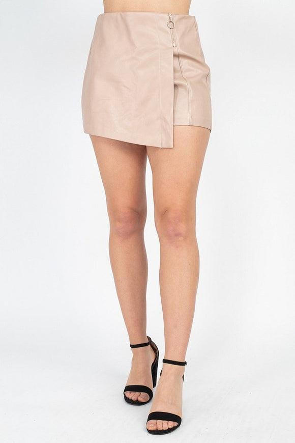 Zipper Trim Sheeny Mini Skirt