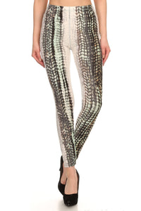 Snake Scales Printed, High Waisted Leggings In Fitted Style With Elastic Waistband