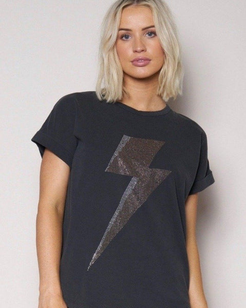 Vintage Tee - black lightning bolt