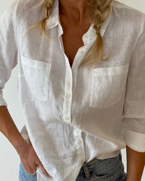 The Classic White Linen Button Thru Shirt