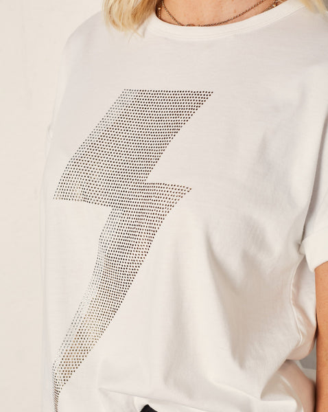 Vintage Tee - white lightning bolt