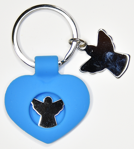 Blue silicone and stainless steel keychain - Guardian Angel
