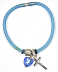Blue Silicon bracelet - genuine SAPPHIRE Venetian Murano glass Heart