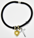 Black silicon bracelet with genuine GOLD LEAF Venetian Murano glass Heart