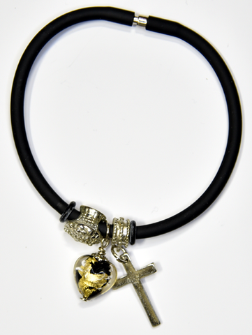 Black silicon bracelet with genuine GOLD LEAF&BLACK Venetian Murano glass Heart