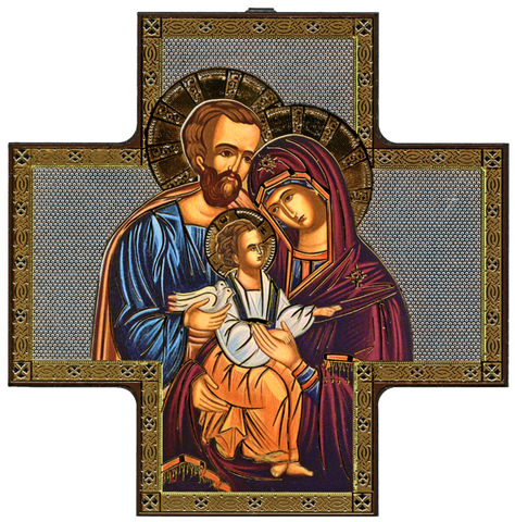"Cross Icon ""Holy Family""Icône Croix ""Sainte Famille""Cruz Icono ""Sagrada Familia""-Italy"