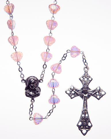 Glass Rosary with Amethyst color shell shaped beads - RM92A-16