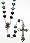 "Glass Rosary with Topaz color ""Beetle"" shell shaped beads - RM92A-12"