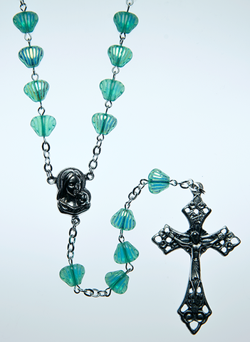 Glass Rosary with Peridot green color shell shaped beads - RM92A-18