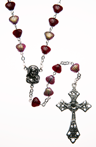 Glass Rosary with Garnet color shell shaped beads - RM92A-19