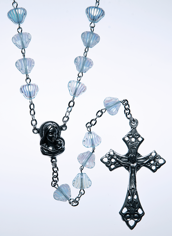 Glass Rosary with Sapphire color shell shaped beads - RM92A-11