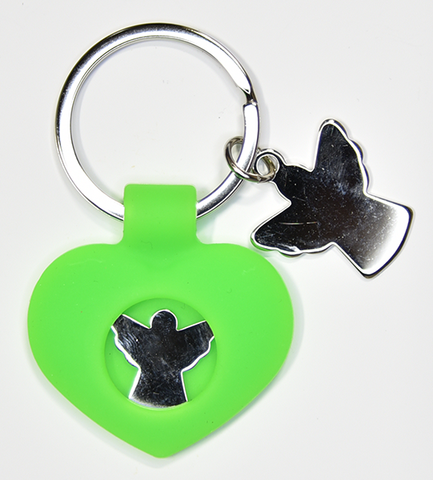 Green silicone and stainless steel keychain - Guardian Angel
