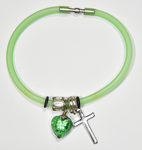 Green Silicon bracelet - genuine HUNTER GREEN Venetian Murano glass Heart