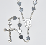 Rosary with hematite glass heart shaped beads silver plated - RMRR37-14