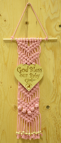 "MACRAME WALL DECOR ""PINK BABY GIRL"" - W09"