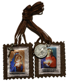 Brown Scapular with medal and Crucifix - MSCAP-P7MC
