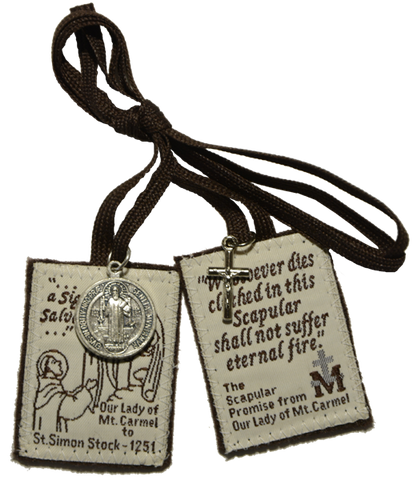 Brown Scapular with medal and crucifix - MSCAP-FMC