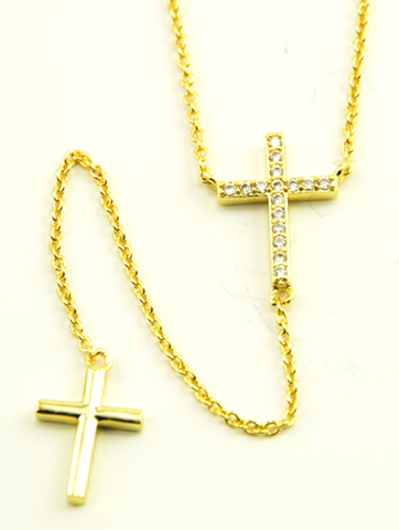 Necklace Double Cross-Collier Double Croix-Collar Doble Cruz-X&N046BX