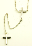 Necklace Double Cross-Collier Double Croix-Collar Doble Cruz-X&N046ABX