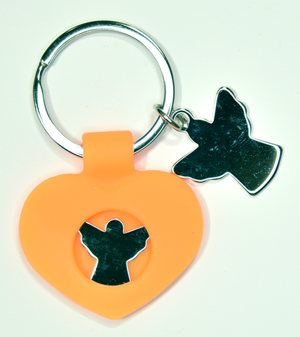 Orange silicone and stainless steel keychain - Guardian Angel