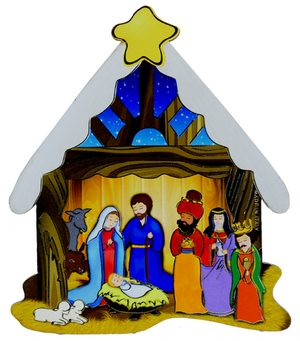 Nativity wood laminated plaque PLE-NC02