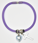 Purple Silicon bracelet - genuine AQUA Venetian Murano glass Heart