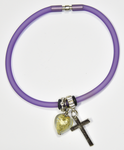 Purple Silicon bracelet - genuine GOLD LEAF Venetian Murano glass Heart