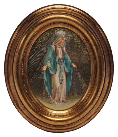 Our Lady of Grace, Gold Plated Oval Picture Frame - QA8012-0001