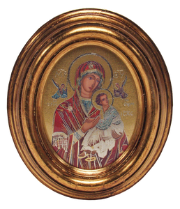 "Icon of Mary and Child Jesus - Icône de Marie et de l'Enfant Jésus -  Icono de María y el Niño Jesús 2.5cm x 10.5cm - 5"" x 4 1/4"" Made in Italy."